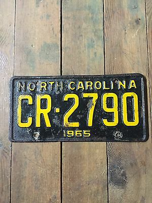 VINTAGE NORTH CAROLINA 1965 LICENSE PLATE TAG Sign Mustang Ford Chevy