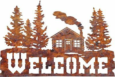 DXF CNC dxf for Plasma Laser Welcome Cabin 2 Vector Metal Wall Art Dxf