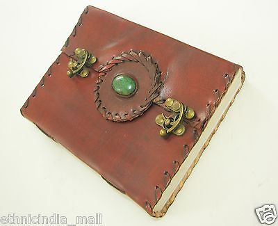Handmade Paper Leather Journal Blank Diary Wiccan Grimoire Book Of Shadows Pagan