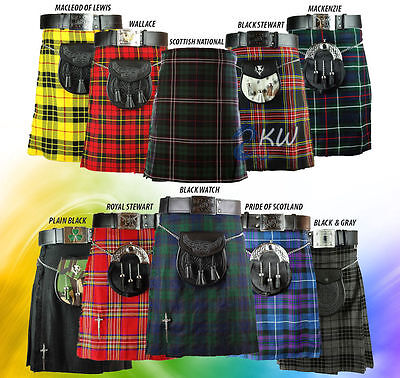 Traditional Highland Tartan Scottish Mens Tartan Kilt All Shades