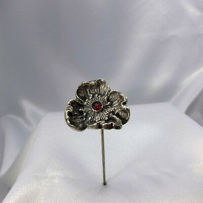 Antique Sterling Large Blown Out Poppy Flower w/ Red Center Stone Hatpin Hat Pin
