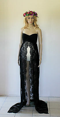Black Strapless Lace Maternity Dress Gown - Photography Photo Prop Size 8-12