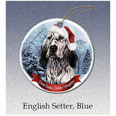 English Setter Blue Howliday Porcelain China Dog Christmas Ornament