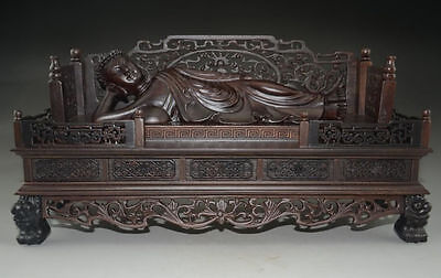 A Rare Chinese Rosewood Hand-Carved Giant Sleeping Buddha Statue