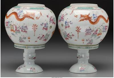 A Pair of Chinese Porcelain Lanterns on Stands, late 19th-early 20t... Lot 61310