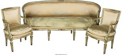 A Three-Piece Louis XVI-Style Painted and Partial Gilt Salon Suite,... Lot 61075