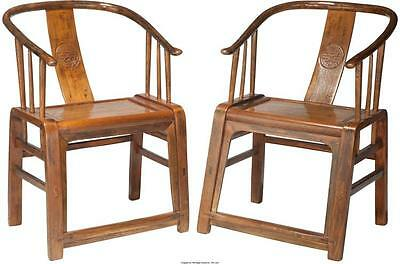 A Pair of Chinese Hardwood Horseshoe Chairs, 19th century 35-1/4 h ... Lot 61287