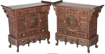 A Pair of Chinese Carved Rosewood Table Cabinets, 20th Lot 61286