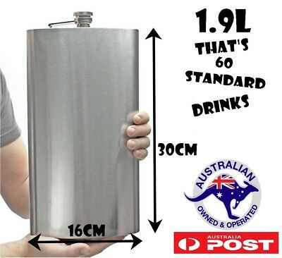 Giant Hip Flask  64oz 1.9 Litres Novelty Stainless Steel liquor wedding birthday