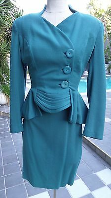 Vintage Lilli Ann Cocktail Suit in Luscious Teal - New Look Early 60 SZ M