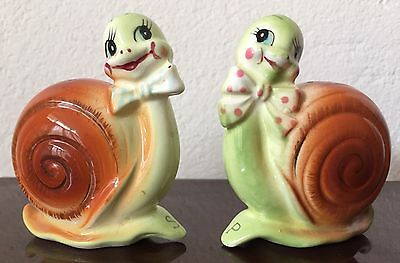 Vintage 1950s Snappy The Snail Anthropomorphic Salt & Pepper Shakers