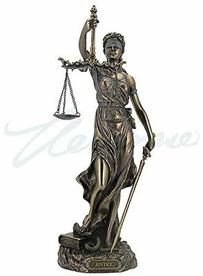 Cold Cast Bronze Cardinal Virtues Our Lady of Justice Statue Figurine, 11.75IN!