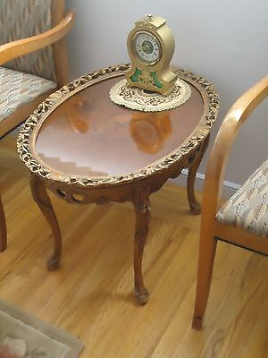 "Antique Vtg Wood Carved Coffee End Table  with Glass Top 18""H - Free Shipping"