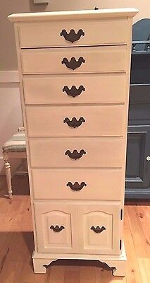 Old White Permacraft Lingerie CHEST / Dresser/ Cabinet Vintage Solid Maple 1950s