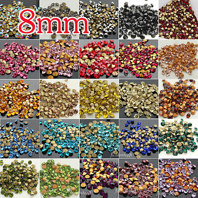 144 8mm Pointed foiled back Rhinestones Crystal Glass Strass Chatons Stones bead