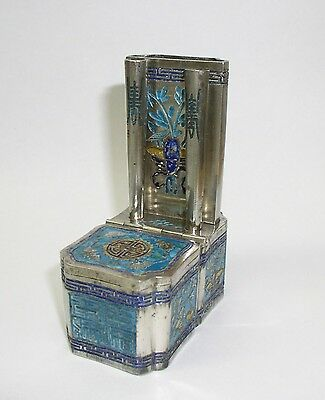 Antique Chinese silver gilt enameled opium smoking accessories box