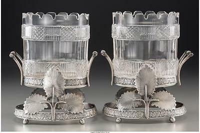 A Pair of Cut-Glass and Silver-Plated Table Garnitures, 19th centur... Lot 61907