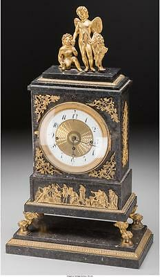 A French Neoclassical Gilt Bronze and Marble Mantle Clock, 19th cen... Lot 61701