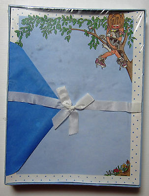 Vintage Stationary Paper Boxed Set Girl in Tree with Cat Whitings NIP