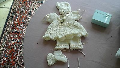 Hand Knitted Dolls Outfit 10In White Nwot Gold Trimming