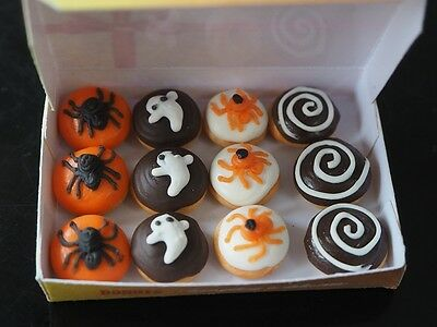 Dollhouse Miniatures 12 Halloween Donuts Doughnut In Box Food Bakery Supply