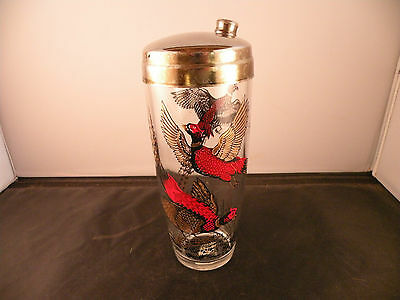 Chrome & Glass hand painted birds Martini, cocktail pitcher mid century, vintage