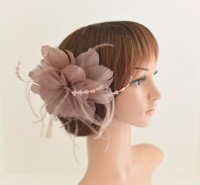 High Quality Wedding Bridal Hair Comb Feather Flower Comb Fascinator 30A(Taupe)