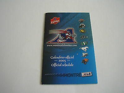 2005 Official Montreal Alouettes Cfl Pocket Schedule***molson Export***