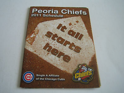 2011 Midwest Baseball League Peoria Chiefs Pocket Schedule