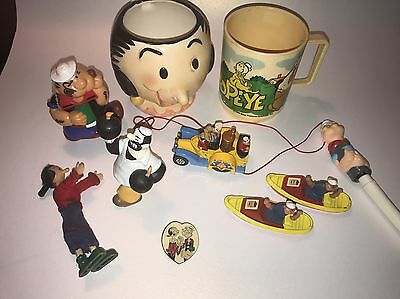 Lot of Vintage Popeye Items Toys