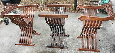 Antique Savonarola Walnut Folding Chairs 3 Piece Chess Set Carved Lions Head