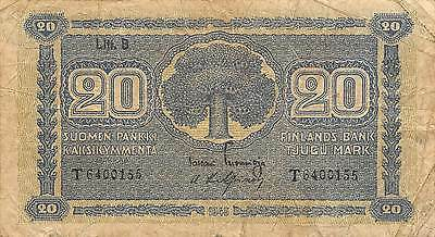 Finland  20 Mark  1945  Series T  Circulated Banknote E11D