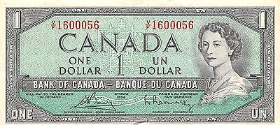 Canada  $1  1954  Series V/F  Que. II  Circulated Banknote