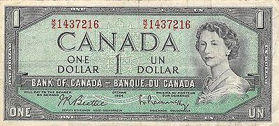Canada  $1  1954  Series M/Z  Que. II  Circulated Banknote