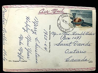 Italy Post-card , Avellino to Canada . With single usage , L70 .