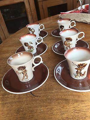 Brownie Downing Demitasse Cups And Saucers