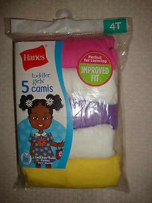 New Hanes 5 Toddler Girls' 100% Cotton Camisoles Camis Tops Multi-Color Size 4T