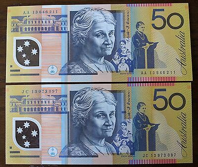 2013 $50 unc first and last prefix pair Australian banknotes