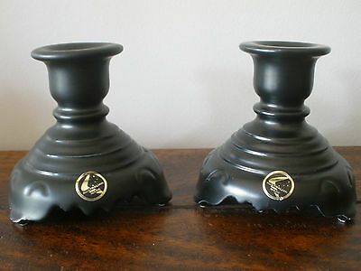 Two Vintage Diana Pottery BEAUTIFLORA black candle holders - Australian