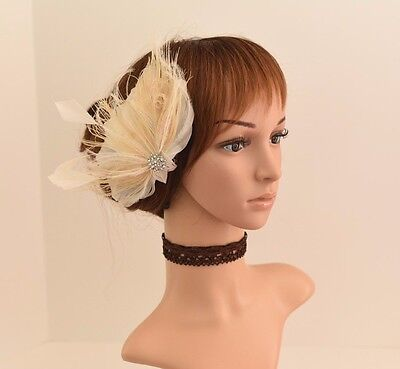 Wedding Hair Comb, Bridal Hair Comb Feather Flower Fascinator 421(Ivory/Natural)