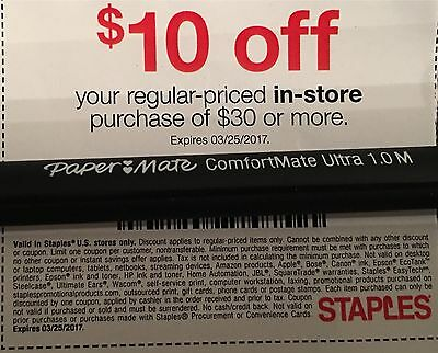 Staples coupon code 10 off 30
