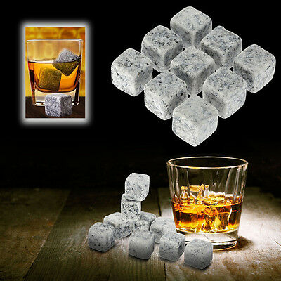 9pcs Whisky Ice Stones Set Drinks Cooler Cubes Scotch Beer Rocks Granite