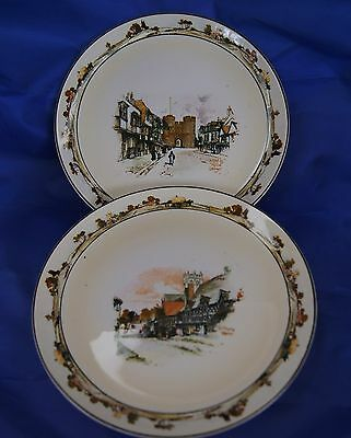 """A Pair of vintage Old England Ware """"Coaching Days"""" Display Plates Ridgways"""