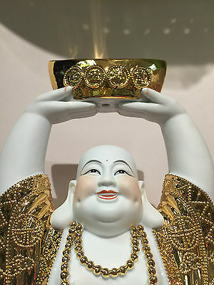 "Chinese Laughing Buddha 16"" Standing With Hands Raising Gold To Sky"