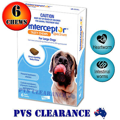 Interceptor Spectrum Blue for Large Dogs 22 - 45 kg - 6 Chews - Heartworm