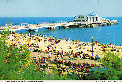 Postcard  Dorset  The pier from West Beach  Bournemouth  posted Hinde