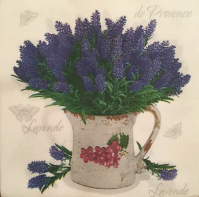 NEW! 2 single paper Napkins Decoupage Scrapbooking or Collection Flower Lavender