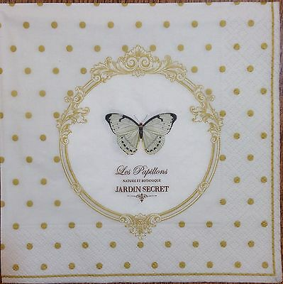 20 paper napkins Decoupage Scrapbooking Crafts Collection Vintage Butterfly Dots