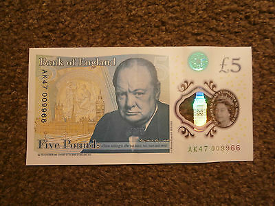 RARE  £5 Note. AK47-009966. Low Unique Serial Number. 9,966 out of 999,999
