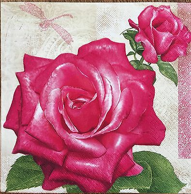 2 single paper napkin Decoupage Scrapbooking Craft Collection Rose Pretty Flower